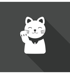 Maneki Neko Cat icon flat vector image