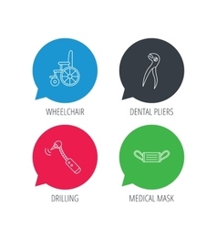 Medical mask wheelchair and dental pliers icons vector