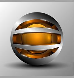 orange circle sphere logo vector image vector image