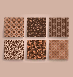 Pack of 6 in 1 vintage brown seamless abstract vector