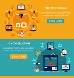 Printing details and 3d construction horizontal vector