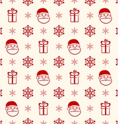 Red christmas seamless background with santa gift vector