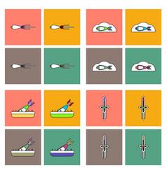 Set of war gagets in color sets on backgrounds vector