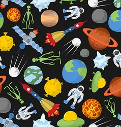 Space seamless pattern Planets and rockets UFO and vector image vector image