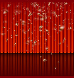 Stage with red curtain and streamer effect eps 10 vector