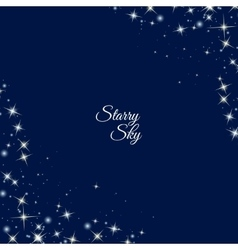 Starry frame on dark blue background vector image