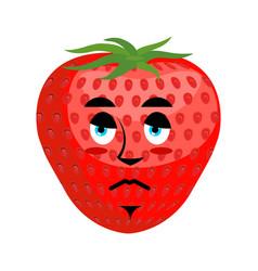 strawberry sad emoji red berry sorrowful emotion vector image vector image