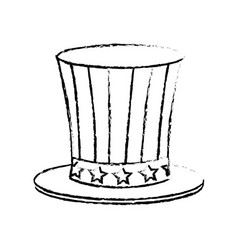 Top hat flag usa celebration party image sketch vector