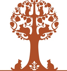 tree with cats vector image