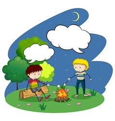 Two boys camping out at night vector