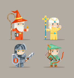 Warrior mage priest archer fantasy rpg game human vector
