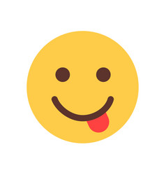 Yellow smiling cartoon face show tongue emoji vector