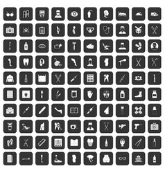 100 medical care icons set black vector