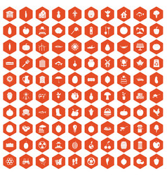 100 vitamins icons hexagon orange vector
