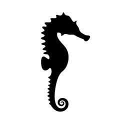 Silhouette of black seahorse vector