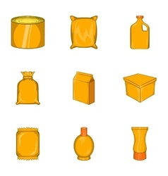 Packaging icons set cartoon style vector