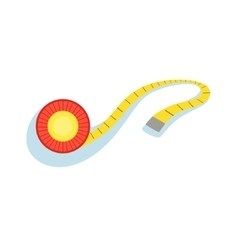 Yellow measuring tape for checking the distance vector