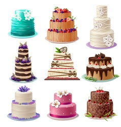 Sweet baked cakes set vector