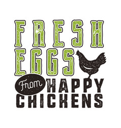 Fresh eggs poster design typography green and vector