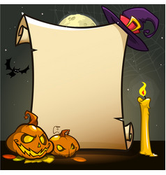 Halloween banner with empty paper scroll with vector