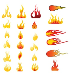 Set of flame icons vector