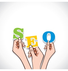 Seo word in hand vector