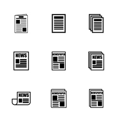 Newspaper icon set vector