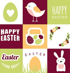 Set of happy easter design elements and vector