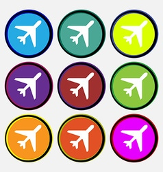 Airplane icon sign nine multi colored round vector
