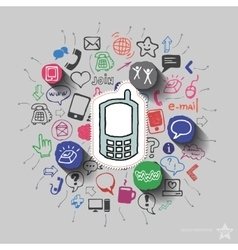 Phone and collage with web icons background vector