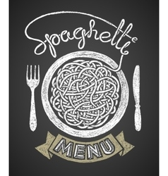 Spaghetti menu drawn on chalkboard vector