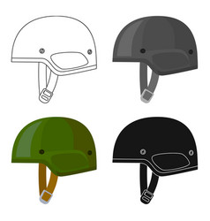 Army helmet icon in cartoon style isolated on vector