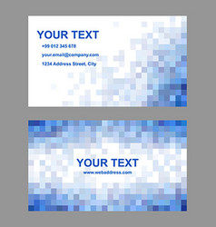 Blue square mosaic business card template design vector