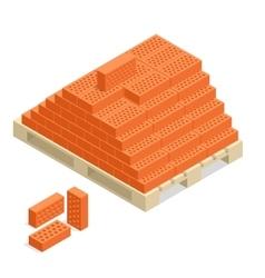 Bricks on pallet Bricks building material 3d vector image