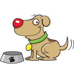 Cartoon Dog with a Dog Bowl vector image vector image