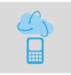 cloud technology cellphone mobile media icon vector image