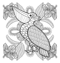Coloring page with pelican in hibiskus flowers vector