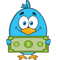 Cute Blue Bird with Money Cartoon vector image vector image