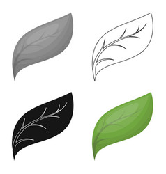 Eco leaf icon in outline style isolated on white vector