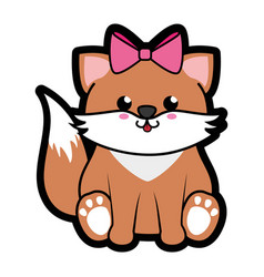 Fox kawaii cartoon vector