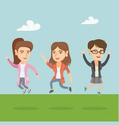 group of joyful caucasian people jumping vector image vector image