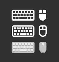 keyboard and mouse icons vector image vector image