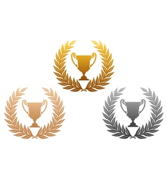 laurel wreath with trophy vector image vector image