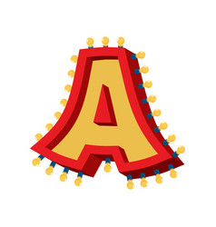 Letter a lamp glowing font vintage light bulb vector