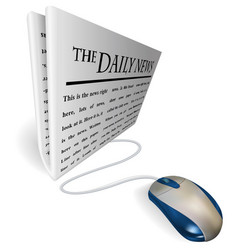 mouse and news paper concept vector image vector image