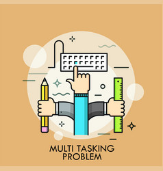 Multitasking problem thin line concept vector