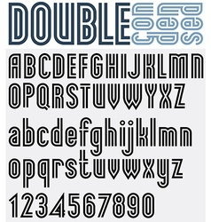 Parallel black and white font and numbers double vector