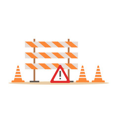 Road cones and barriers signalling tools part of vector