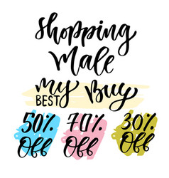 sales calligraphy tag shopping decoration set vector image