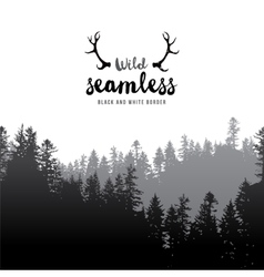 seamless coniferous forest border vector image